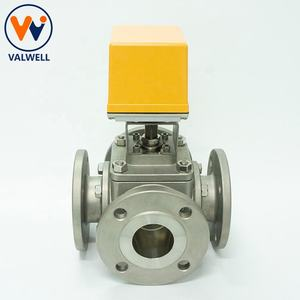SS Electric Actuator Actuated 4-way Ball Valve