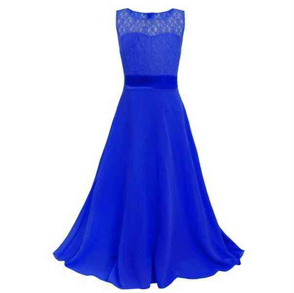 high quality wholesale custom bangkok children party kid blue girl princess maxi dress