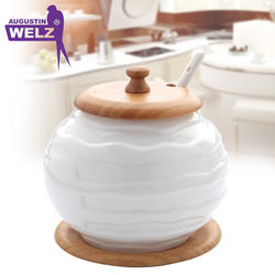 White Porcelain Large Sugar Bowl with Spoon and Bamboo Lid and Rack
