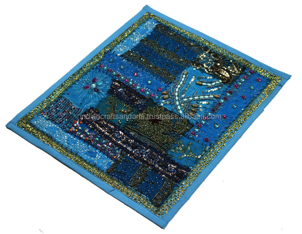 Vintage India indio Sari Patchwork pared colgante/Tribal Folk algodón bohemio Tapestry Throw Vintage Art
