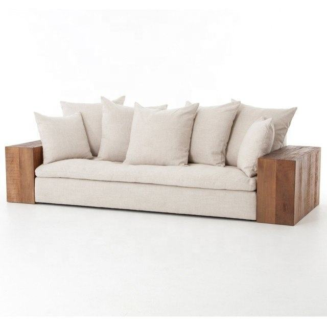 Rustic Reclaimed Solid Wood Distressed Dorset Industrial Loft Linen Sofa with Wood Arms Sofa