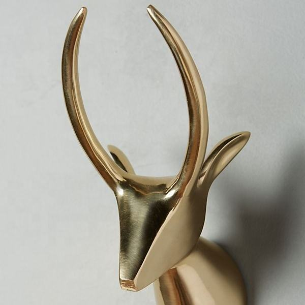 Metal Brass Aluminium Cast Antelope, Rhino, Elephant High quality Polished Gleaming Safari Theme Bust figures wall decor Art