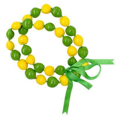 Hawaiian style Yellow and Green color combination kukui nut necklace