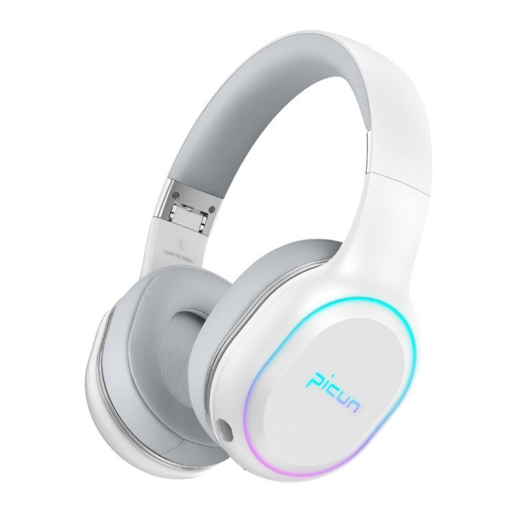 Picun P80s HIFI LED Light Strong Bass Stereo Vibration BT 5.0 Wireless Gaming Headset Headphone