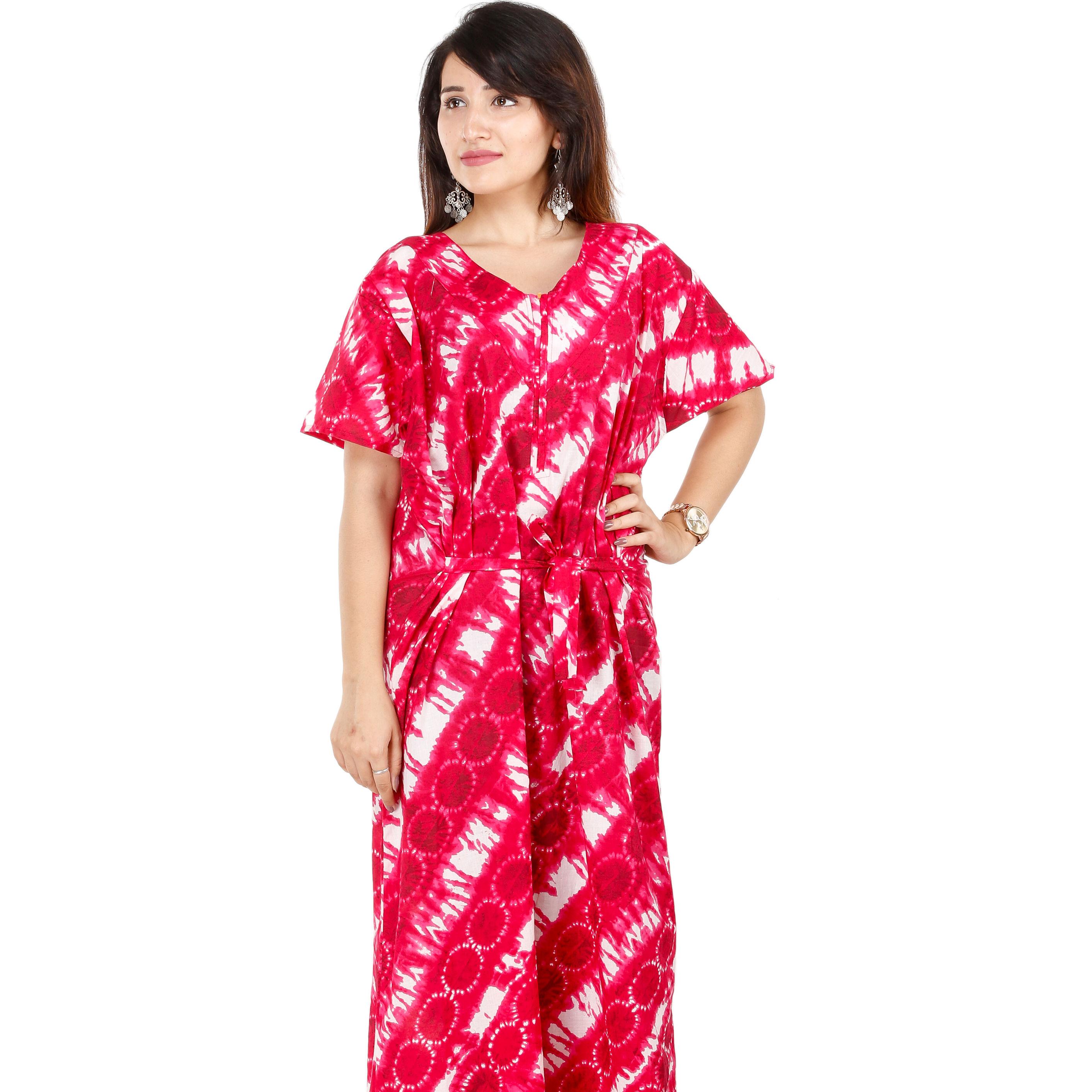 Womens Pyjamas Flower Night Wear Nighty Cotton Revere Collar Short Sleeves