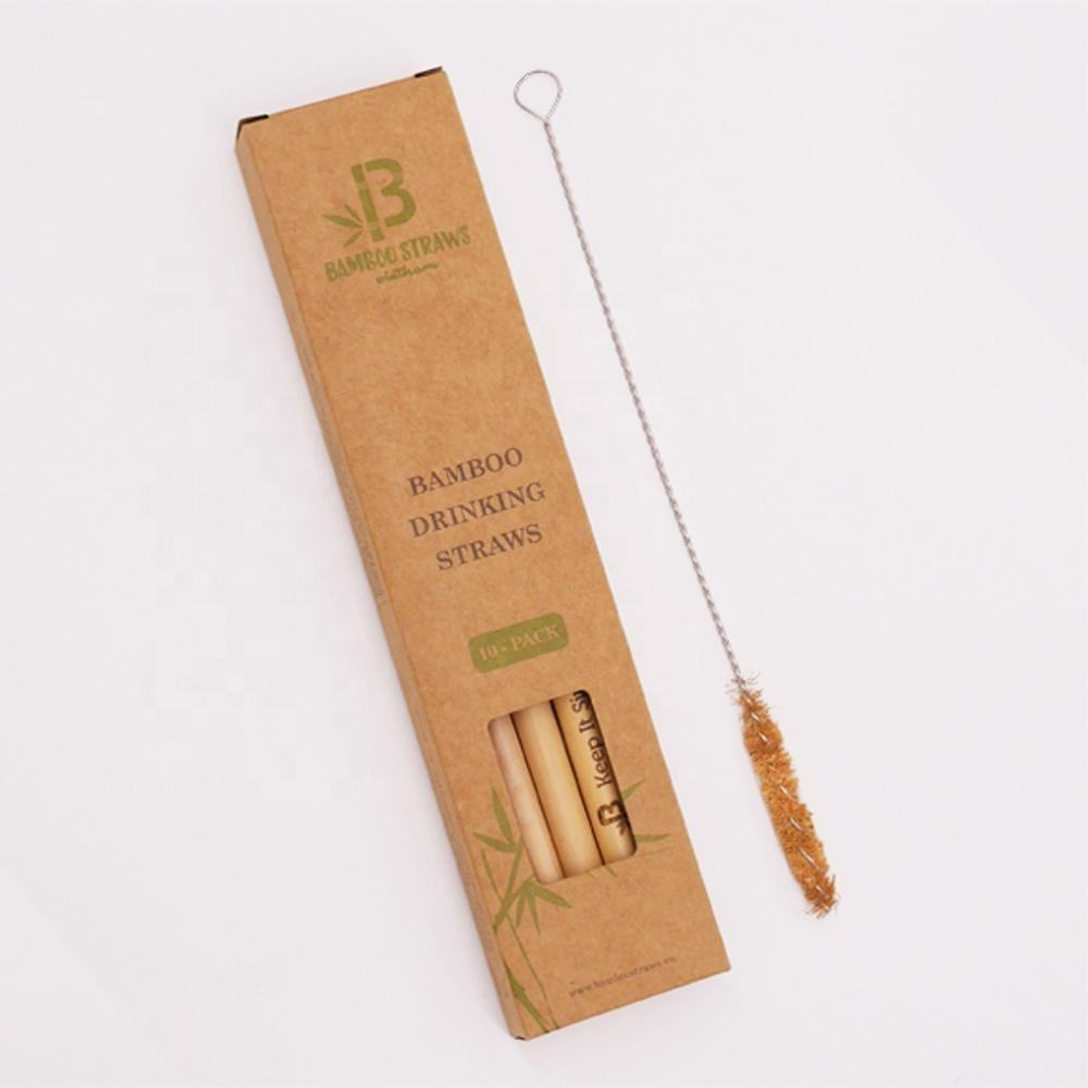 nice kraft paper packing laser logo bamboo drinking straw