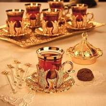 Crystal Coated Golden Turkish Tea Cups Set For Six Person