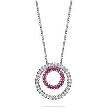 14K White Gold Ruby Gemstone And Natural Diamonds Pendant Total 0.57 Carat