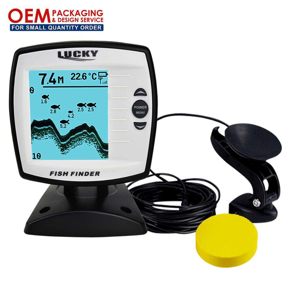 LUCKY Fish Finder 4-level Grayscale FSTN LCD Fish Detector 328feet(100m) Boat-use Depth Sounder (OEM Packaging Available)