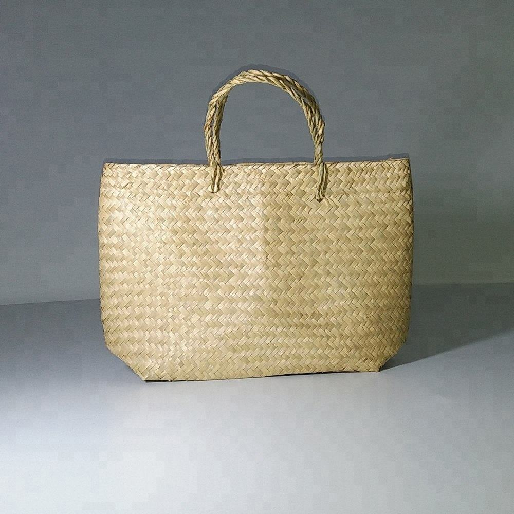Vietnam wholesale wicker rattan straw woven weave storage shopping , seagrass women bag
