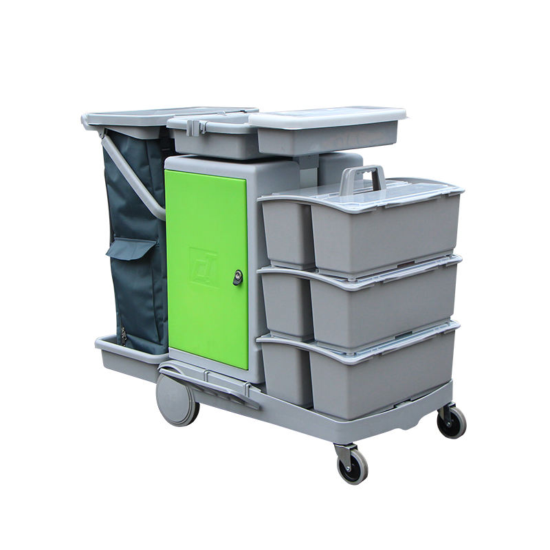 Professional Floor Mopping Trolley 3 Layers Bucket Storage Cabinet Janitorial Cleaning Service Cart Trolley