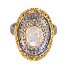 Rainbow Moonstone Gemstone Bali Ring 925 Sterling Silver Gold Plated Black Rhodium Jewelry