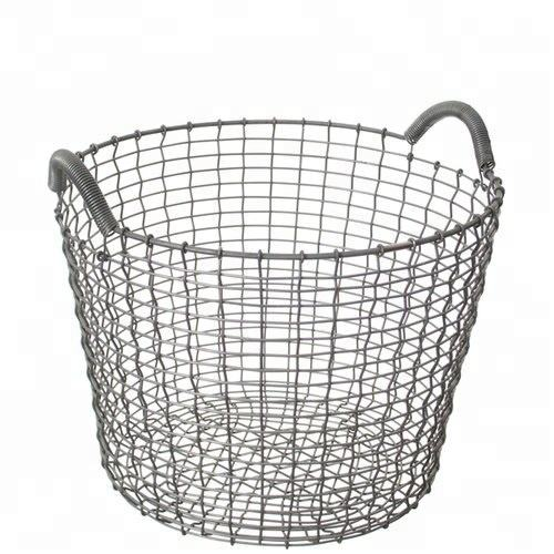 Wire Mesh Round Metal log basket Holder With Handles