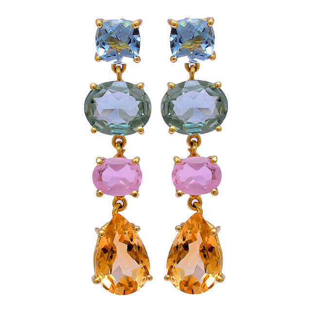 long hanging type 925 solid silver gold plated prong set gemstone studs earrings