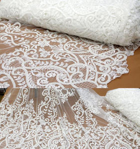 white bridal 3d embroidery beaded wedding bridal lace dress fabric