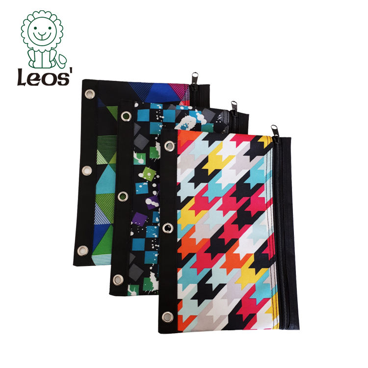 2021 Back to School Stationery Kids Student 3-Ring Fabric Binder Pencil Pouch