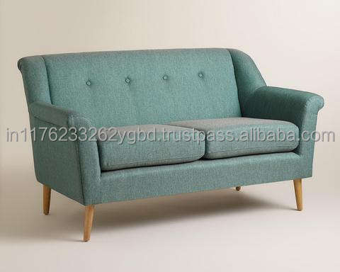 Moderno Metà del Secolo <span class=keywords><strong>Stylist</strong></span> Teal Colore Tessuto <span class=keywords><strong>2</strong></span> Posti Divano