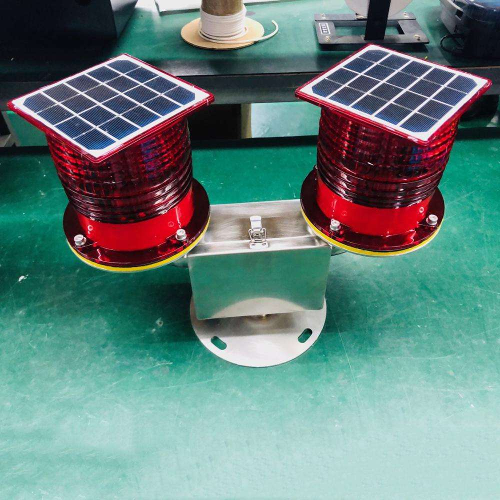 Communication Towers DC6.5V 32cd Low intensity Double solar powered Red aircraft warning lights