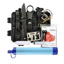 Outdoor Survival Kit Camping Set With Water Filter Straw, Emergency Survival Kit (FDA CE approved)