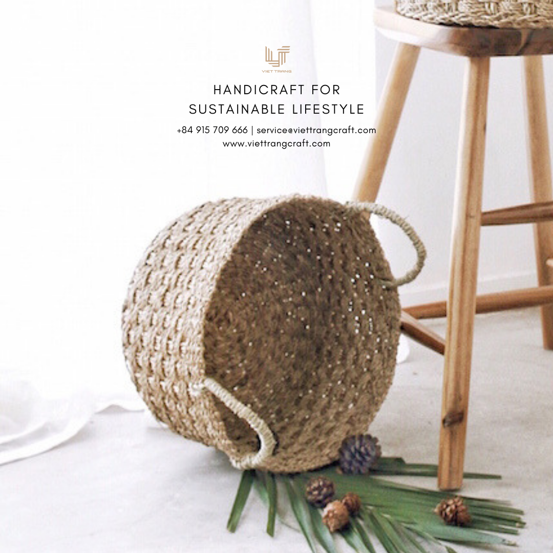 Round Shape Basket made by Natural Seagrass from Vietnam for Christmas decoration supplies