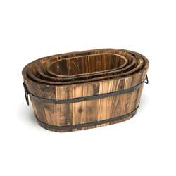 Oval Wood Planter - Set of 4