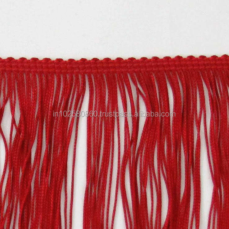 "Deep Red Chainette Fringe 8"" long Trim - Dance Costumes, Lamp Shades, Interior Decorating - Sewing Trim Supplies"
