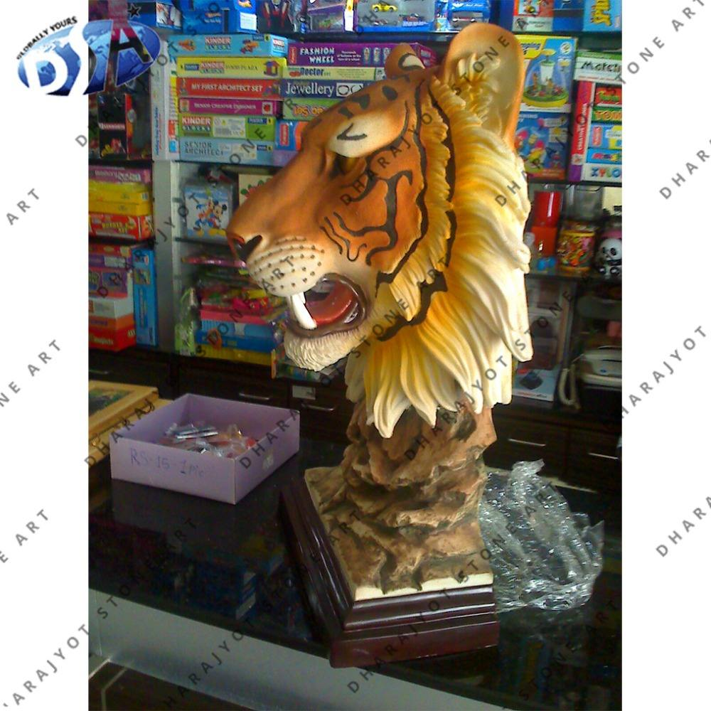 Kuning marmer home decor tiger kepala patung