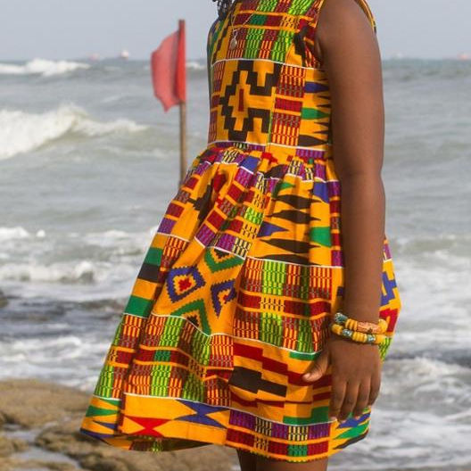 African Kente Print Dress Little Girls Kids African Kente Young Girl Dress African wax print cotton Girl wear full Dres