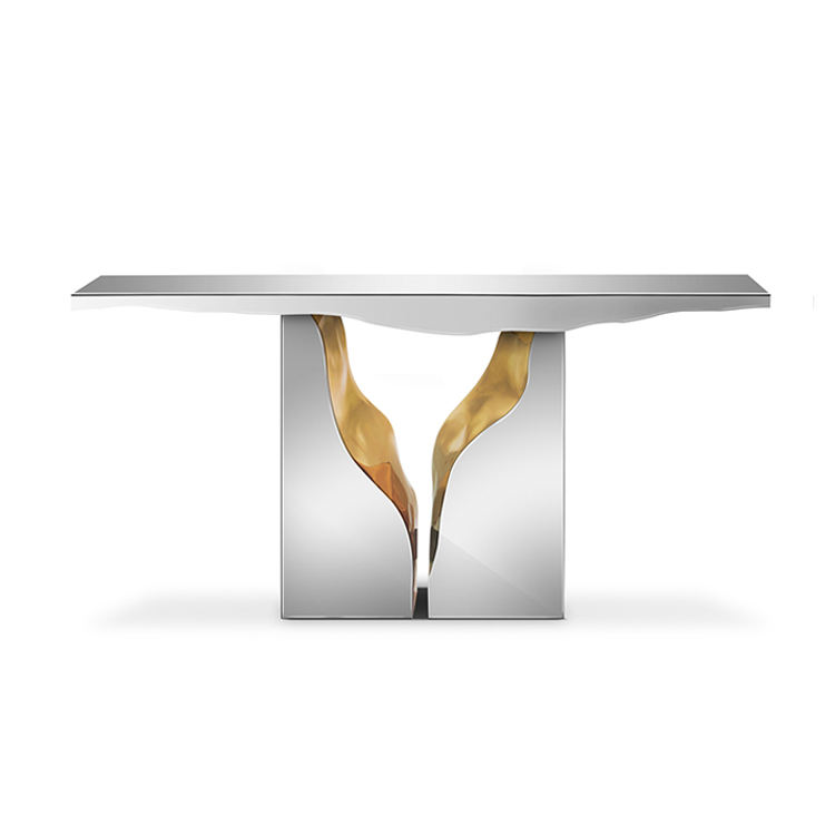 Modern luxury white gold console table