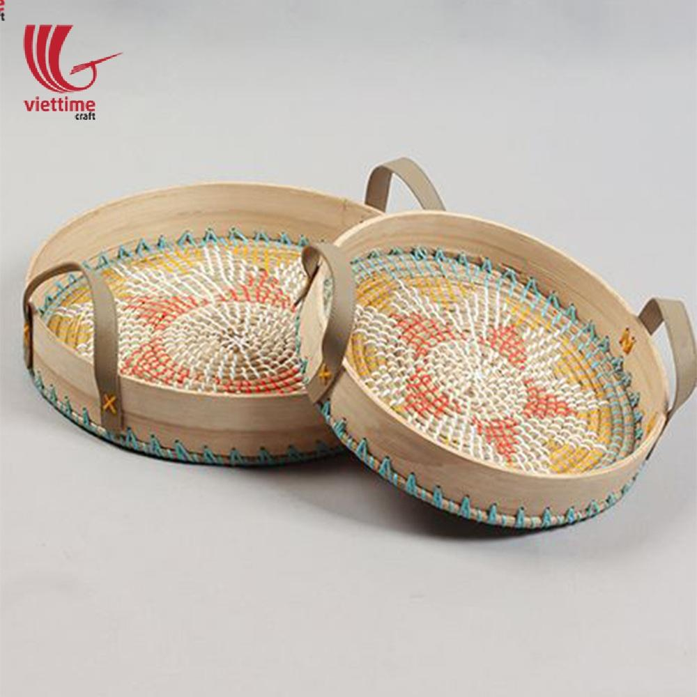 Round decorative basket tray made from natural seagrass/Wholesale handicraft basket