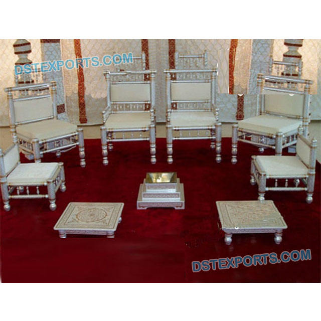 Indian Wedding Mandap Sankheda Chair Set Gujrati Wedding Wooden Mandap Chairs Traditional Hand carved Wooden Mandap Chairs