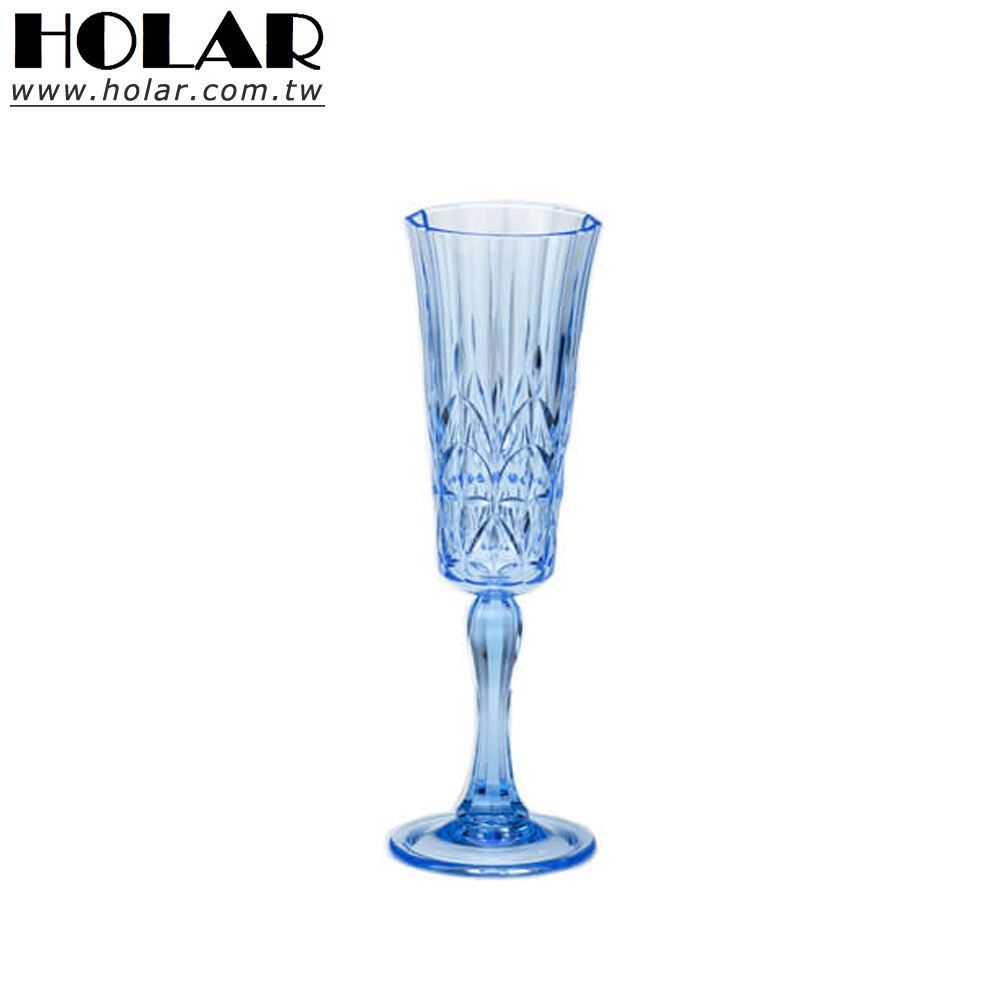 [Holar] Mediterranean Blue 5oz Plastic Champagne Glasses Flutes for Wedding Parties