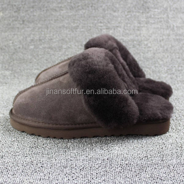 100% Sheepskin Real Lamb Fur Fluffy Indoor Slippers