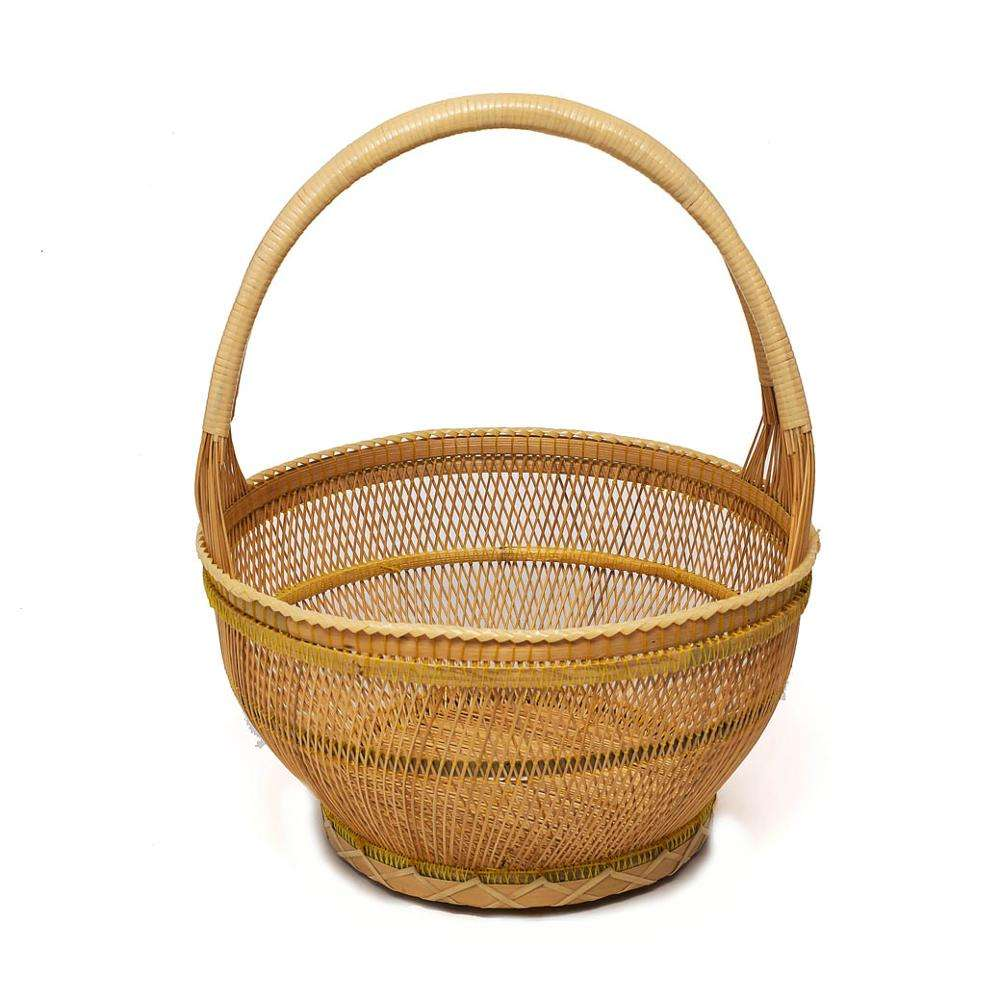 Small Woven Water Hyacinth  Basket Wicker Chicken Thai Handmade Craft Decor Gift