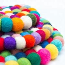 Felt ball mix color wool carpet /Rug /Tea Coaster