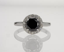 14K White Gold Ring With Natural Black Diamond And White Diamonds Total 1.48 Carat