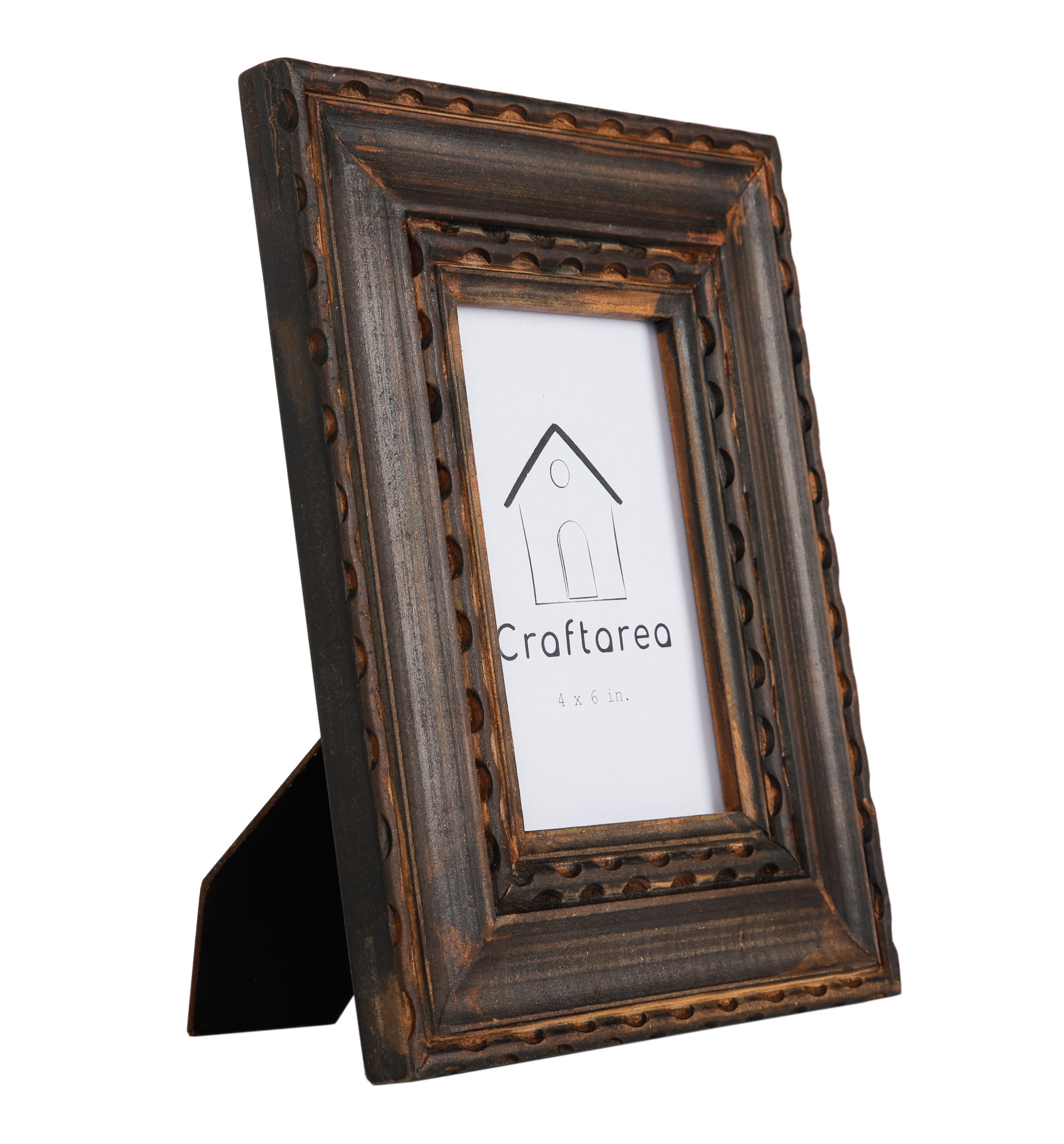 Vintage Wooden Handcrafted Table Top Picture Frame (4x6 inches)
