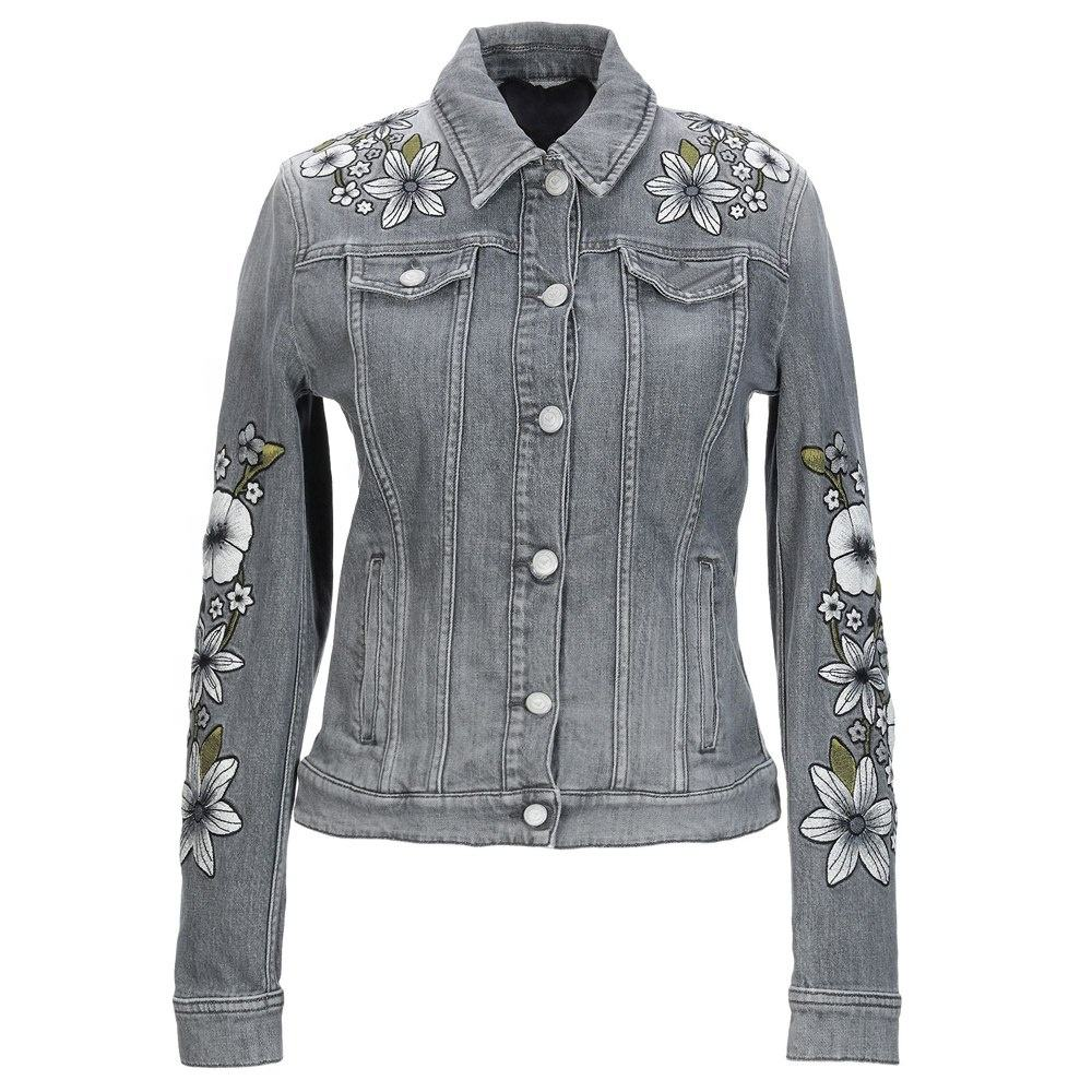 women's denim jacket grey color embroidered flower design jeans high quality 100% cotton jackets button closure