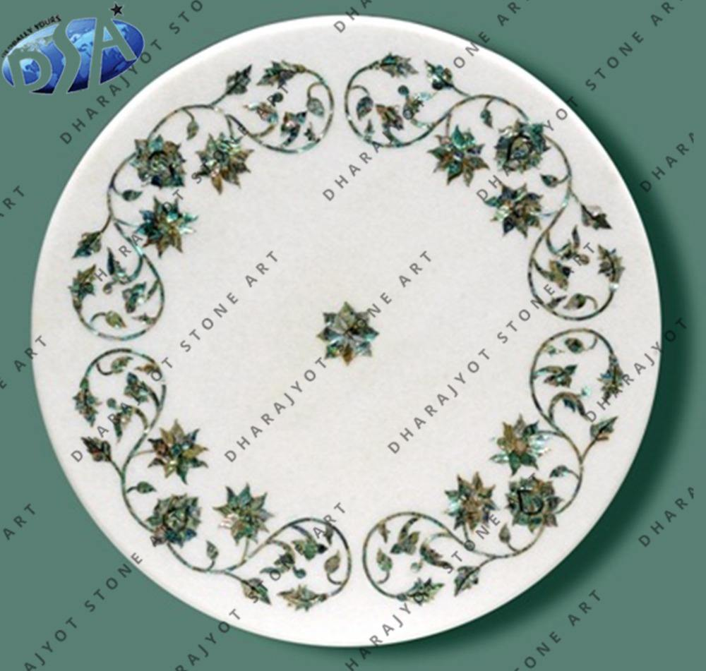 Polished White Marble Antique White Marble Inlay Table Top