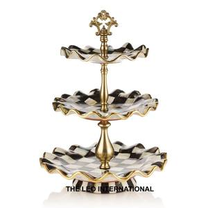 Courtly check metal cake stand