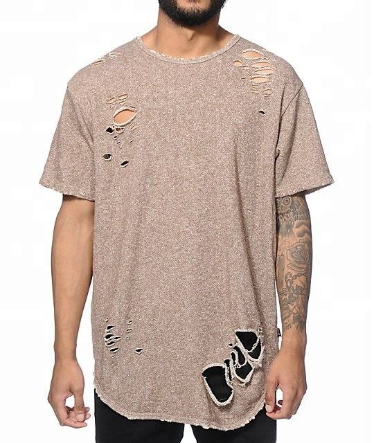 2018 elongated ripped t shirts