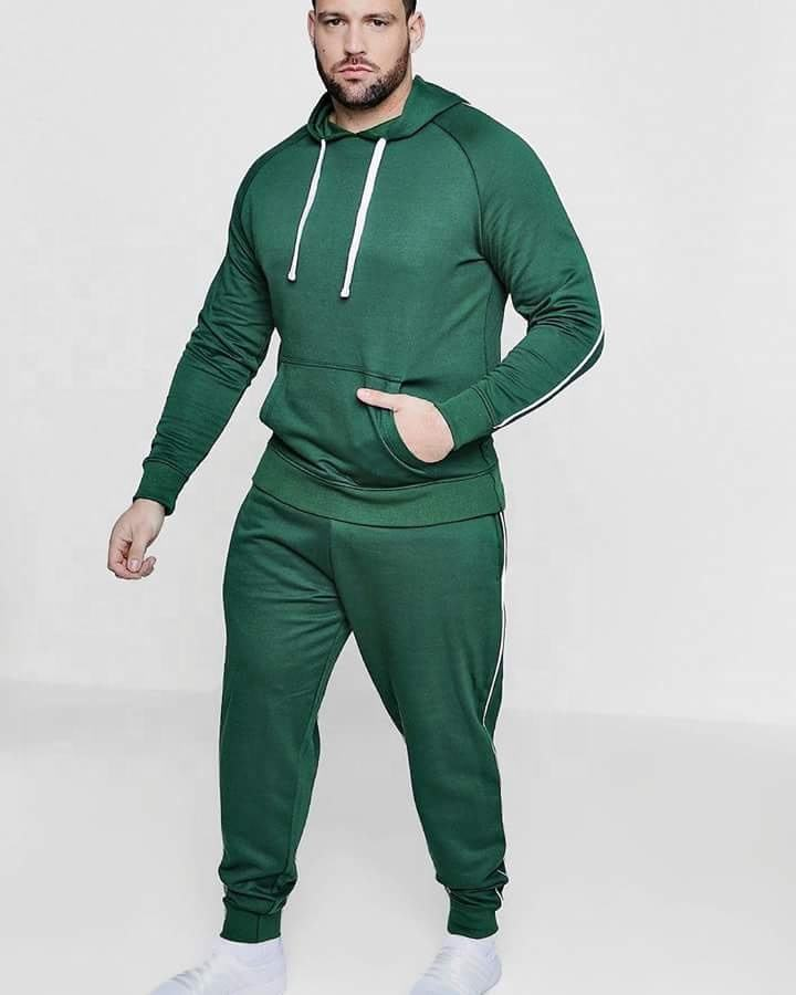 Mens track suits wholesale plain green custom brand sweatsuit set