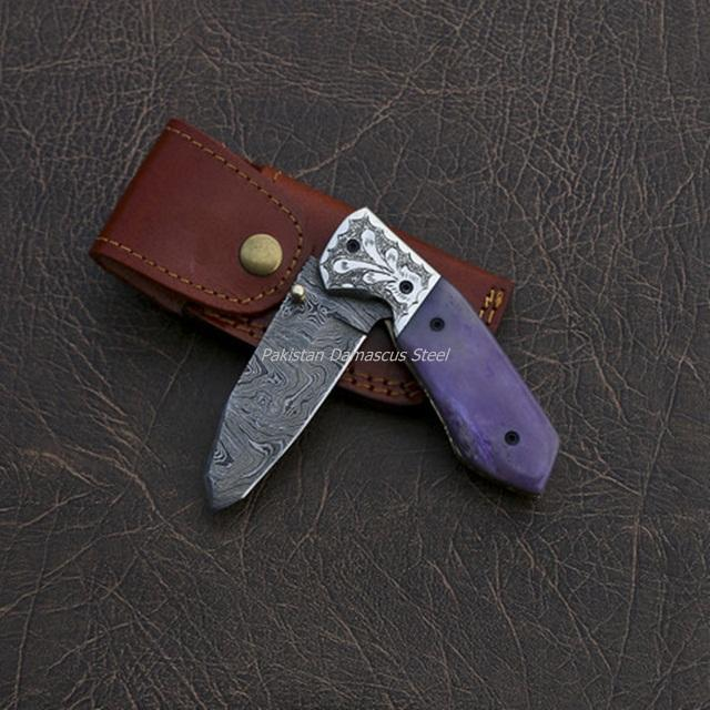 Great Quality Handmade damascus Steel folding knife with Leather Sheath PDS -156