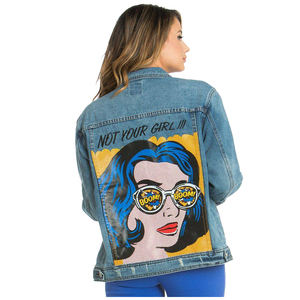 PID-384 ladies Dark Blue Not Your Girl Denim Jacket with full back printing