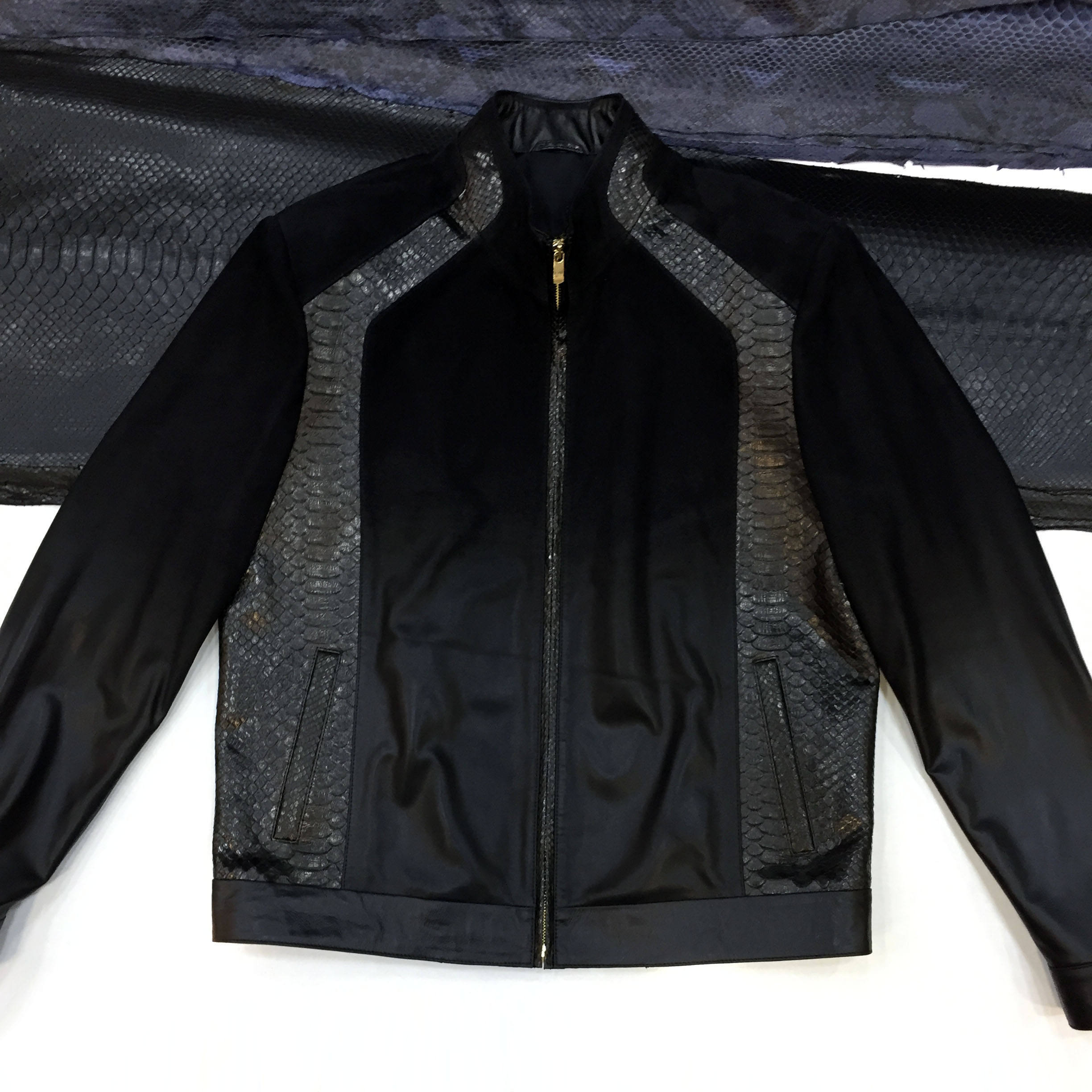 Degrade Suede And Leather Genuine Python Real Exotic Snake Skin Men's Black Jacket