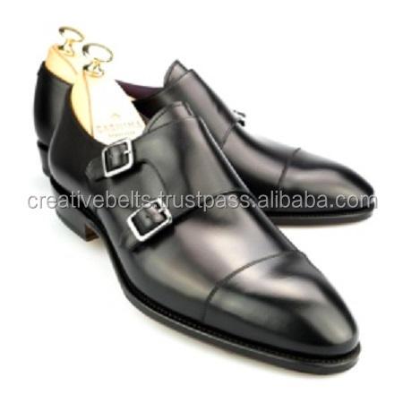 Double Monk Black Mens Genuine Leather