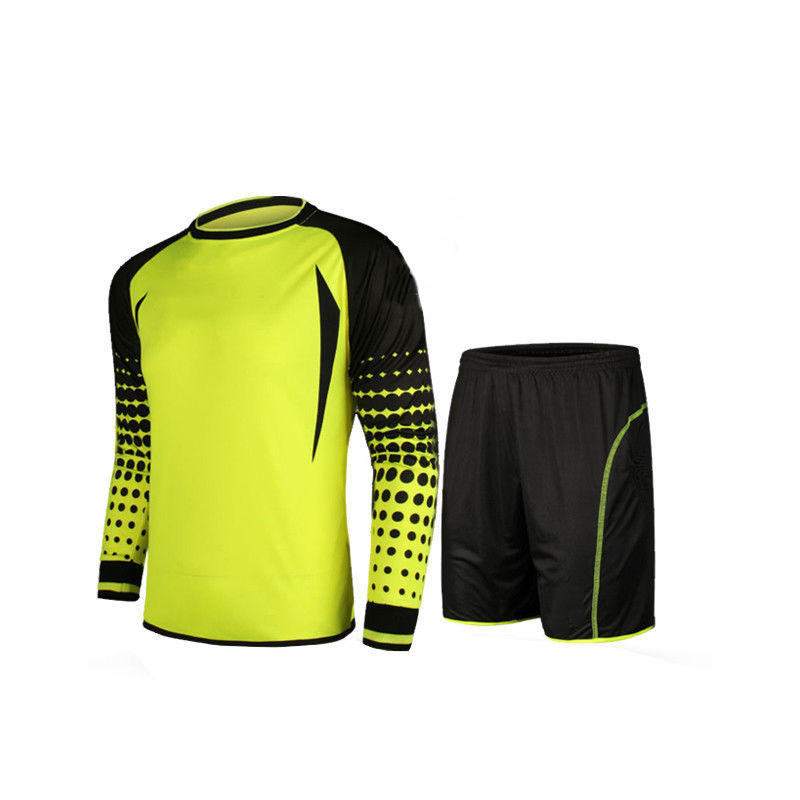 Goalkeeper Football Jersey kit Custom sublimated Shorts Men Soccer Goalie Long Sleeve Pad Shirt Sports Top Soccer Wear