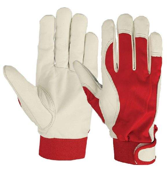 Men's White Fingerless Leather Driving Gloves