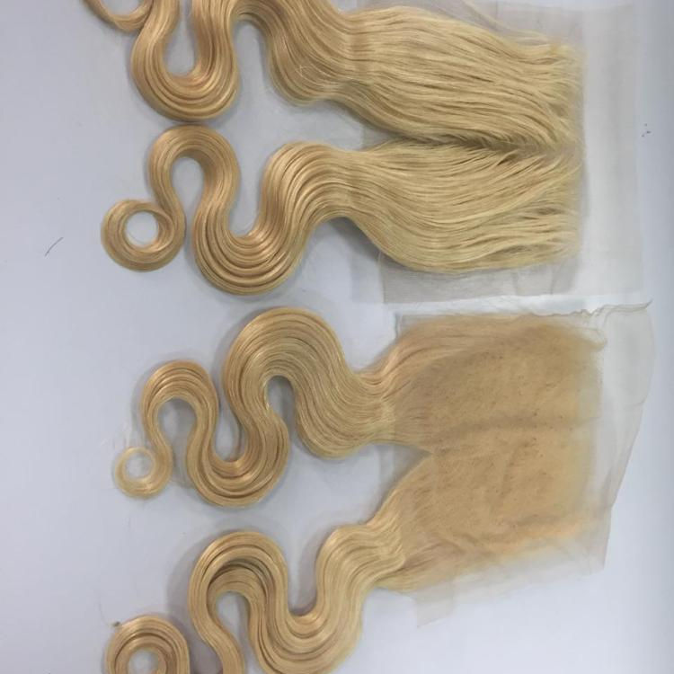 Lace Closure size 4,5 *5,5 inches match with 3 bundle weave, water wavy, Blond 60_ High quality