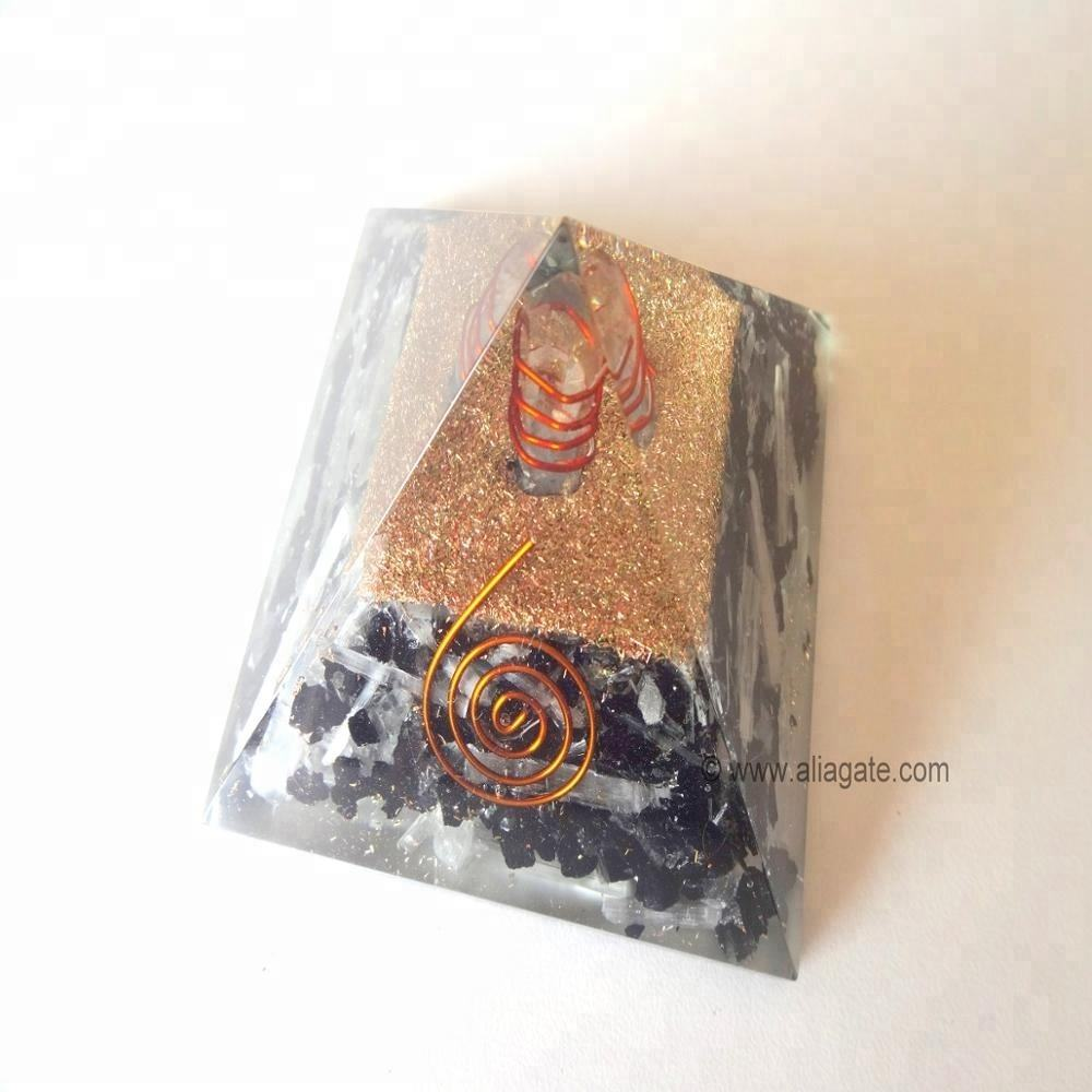 Selenite-Black Tourmaline with Charge Crystal Natural Point Orgone Pyramid